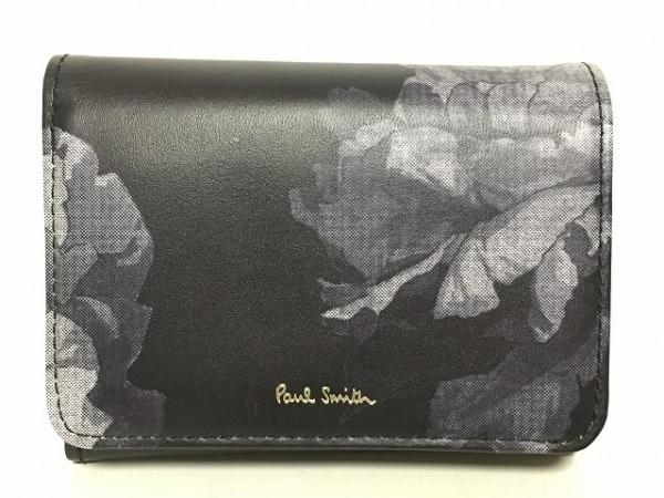 PaulSmith(ポールスミス) 2つ折り財布 黒×ライトグレー×ダークグレー 花柄 レザー