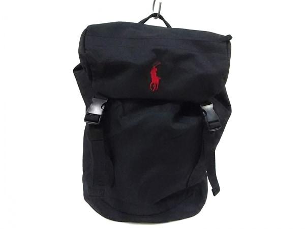 ポロラルフローレン リュックサック RAS10020A 黒×レッド ポリエステル
