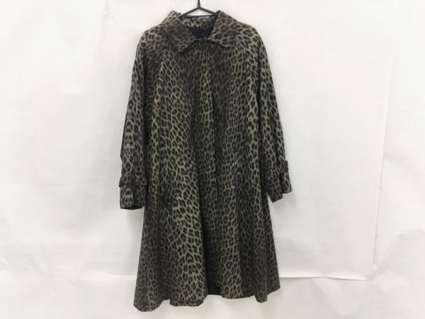 JAEGER(イエガー) コート サイズL レディース カーキ×黒×マルチ 豹柄/春・秋物
