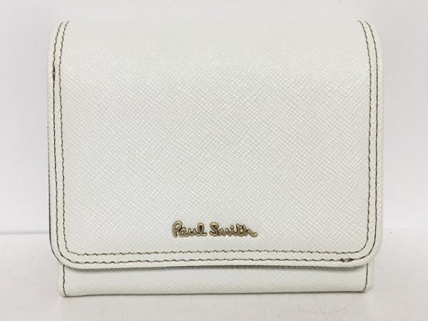 PaulSmith(ポールスミス) 2つ折り財布美品  白 レザー