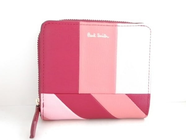 PaulSmith(ポールスミス) 2つ折り財布美品  ボルドー×ピンクベージュ×ピンク レザー