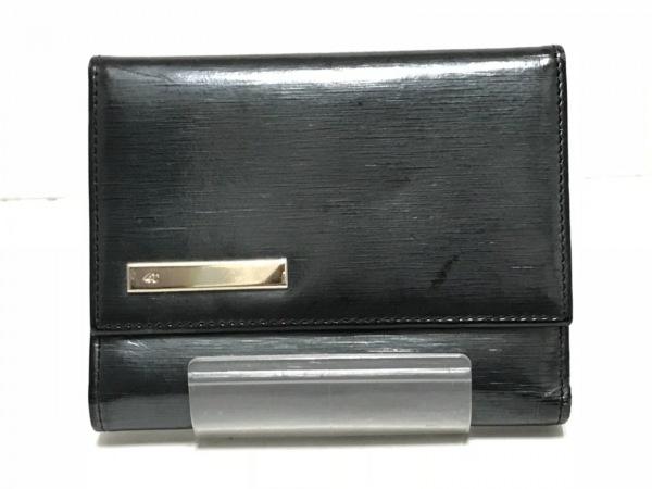 4℃(ヨンドシー) 3つ折り財布 ダークグレー がま口 エナメル(レザー)