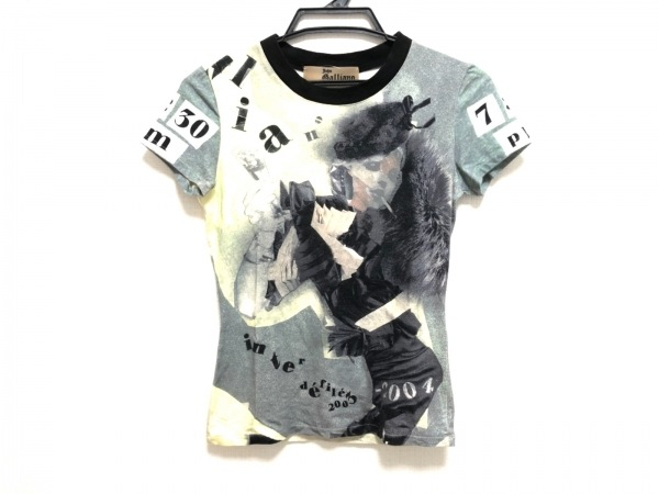 JOHN GALLIANO(ジョンガリアーノ) 半袖Tシャツ サイズS レディース イエロー×マルチ