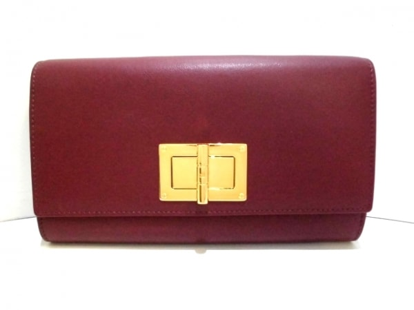 TOM FORD(トムフォード) 財布美品  ボルドー ショルダーウォレット レザー