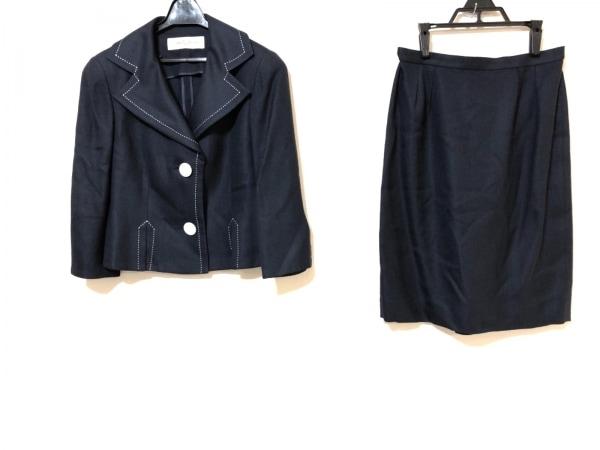 ユキサブロウワタナベ スカートスーツ サイズ9 M レディース ネイビー×白 肩パッド
