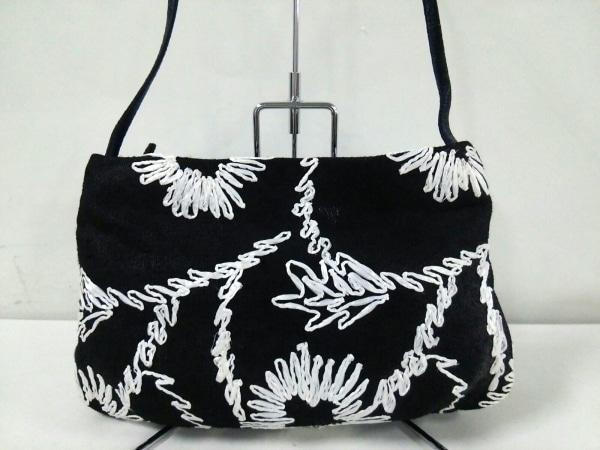 DESMO(デズモ) ショルダーバッグ 黒×白 花柄 麻×化学繊維