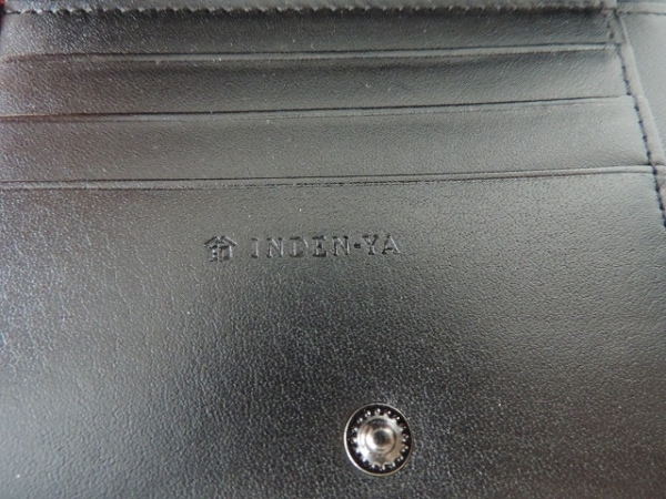 印傳屋(インデンヤ) 2つ折り財布美品  ボルドー×黒 がま口 レザー×漆
