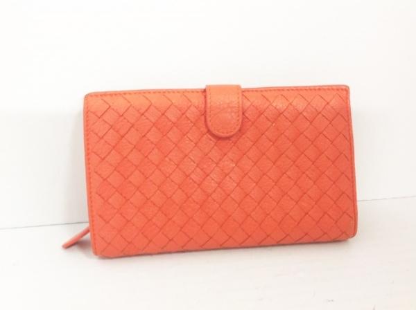 ボッテガヴェネタ 2つ折り財布 イントレチャート B03342932Y オレンジ レザー