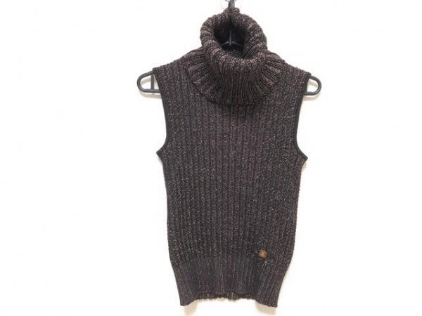 シャネル ノースリーブセーター サイズ38 M レディース新品同様  黒×ブロンズ