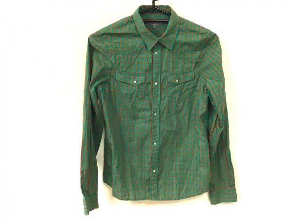 ボンポワン 長袖シャツブラウス サイズ14 XL レディース グリーン×ライトブラウン