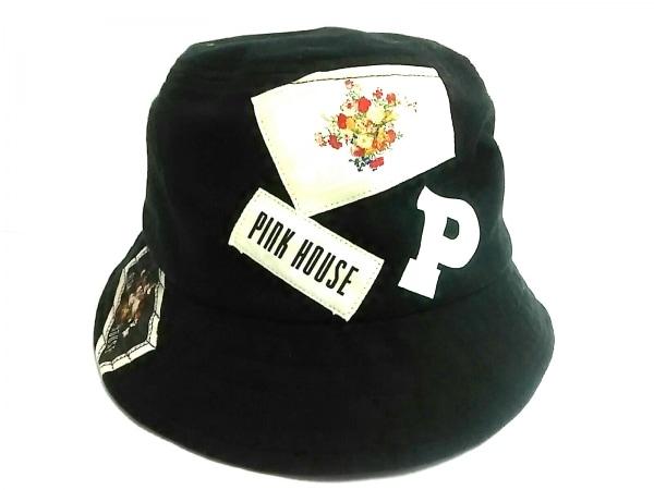 PINK HOUSE(ピンクハウス) ハット 黒×マルチ コットン
