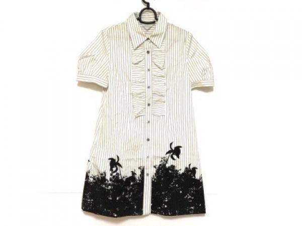リツコシラハマ ワンピース サイズ2 M レディース美品  白×黒 シャツワンピ