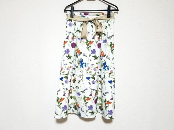 チェリーアン ロングスカート サイズ38 M レディース美品  白×パープル×マルチ 花柄