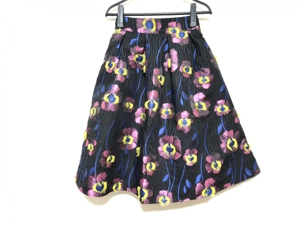チェリーアン スカート サイズF レディース美品  黒×ピンク×マルチ 花柄
