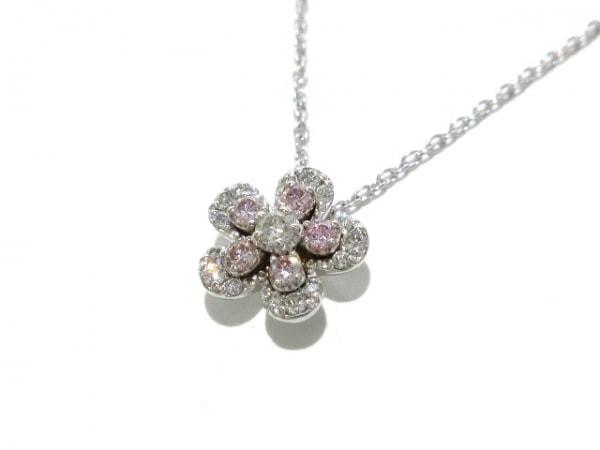 ポンテヴェキオ ネックレス新品同様  K18WG×ダイヤモンド×ピンクダイヤモンド