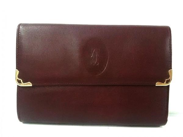 Cartier(カルティエ) 3つ折り財布美品  マストライン ボルドー がま口 レザー