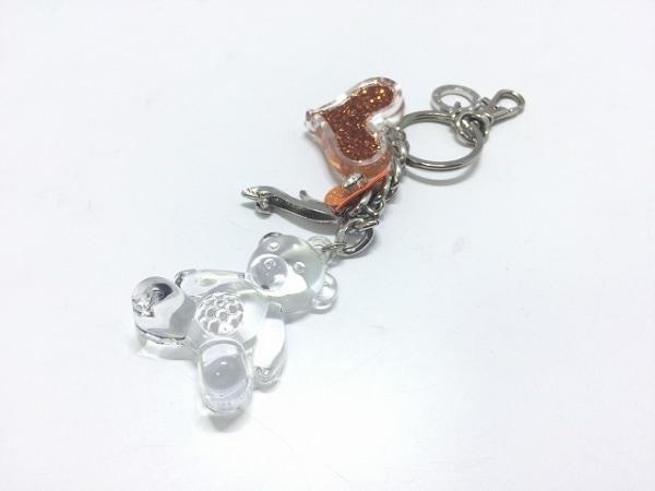 アンテプリマ キーホルダー(チャーム) クリア×オレンジ キーリング付き/くま/ハート