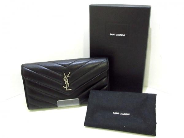 SAINT LAURENT PARIS(サンローランパリ) 長財布美品  504925 黒 レザー