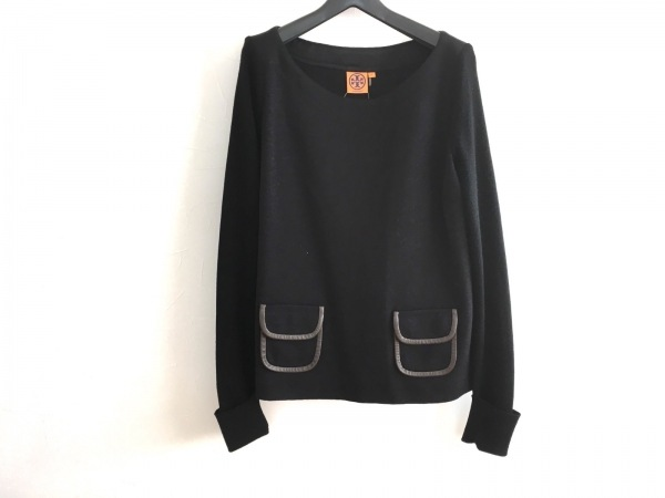 トリーバーチ 長袖セーター サイズXL レディース美品  黒×ダークブラウン