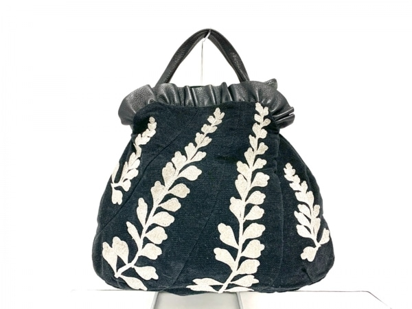 anatelier(アナトリエ) トートバッグ 黒×シルバー 刺繍 ウール×化学繊維×レザー