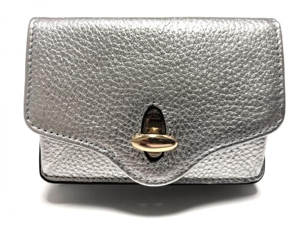 HASHIBAMI(ハシバミ) 3つ折り財布美品  シルバー レザー