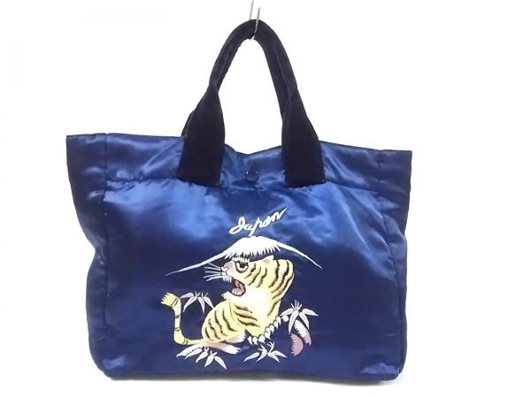 BEAMSBOY(ビームスボーイ) トートバッグ ネイビー×マルチ 刺繍 サテン×ベロア