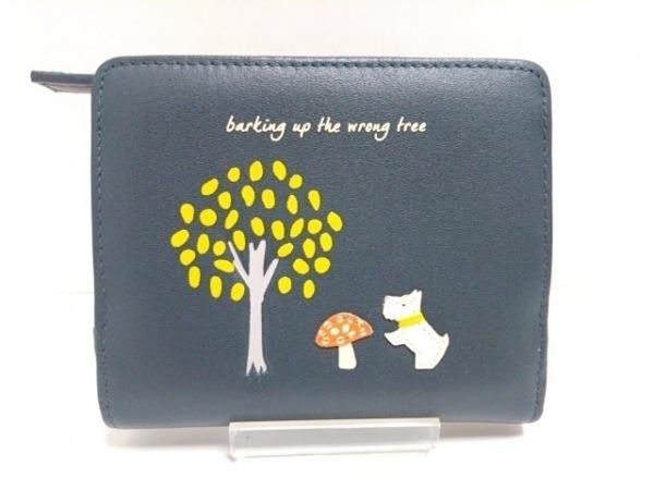 RADLEY(ラドリー) 2つ折り財布美品  ダークグリーン×白×マルチ レザー