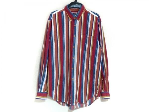 VAN(バン) 長袖シャツ サイズM メンズ レッド×ブルー×マルチ ストライプ
