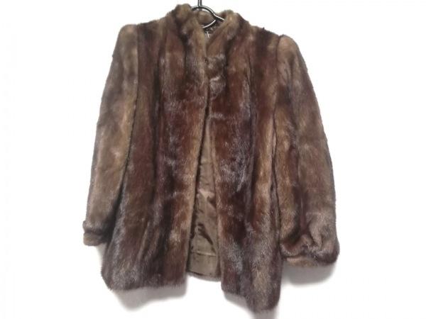 SAGA MINK(サガミンク) コート サイズ13 L レディース美品  ブラウン ネーム刺繍/冬物