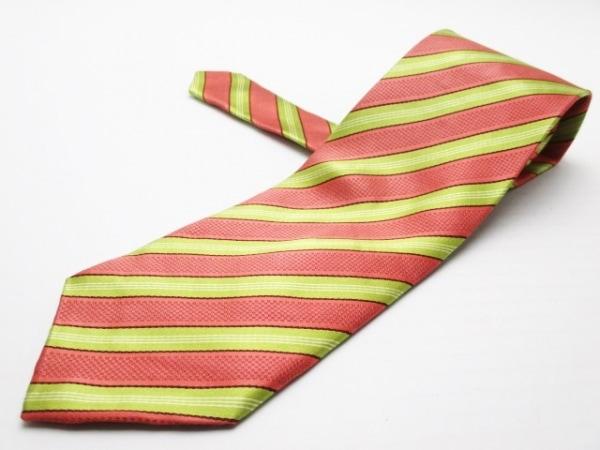 ポールスミス ネクタイ メンズ美品  ピンク×ライトグリーン×マルチ 斜めストライプ
