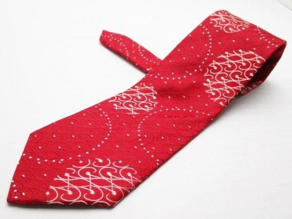 PaulSmith(ポールスミス) ネクタイ メンズ レッド×シルバー 刺繍/ラメ