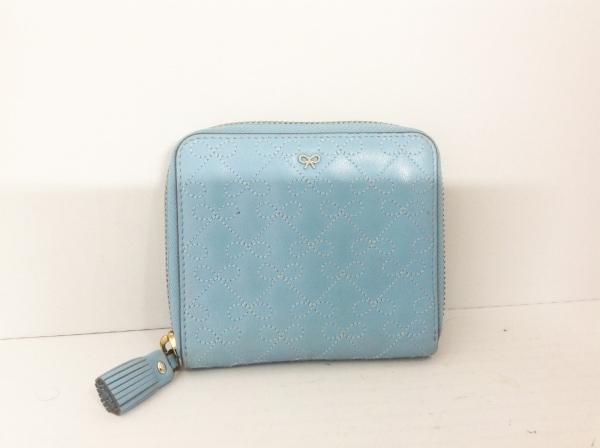 アニヤハインドマーチ 2つ折り財布 ライトブルー ラウンドファスナー/リボン/タッセル