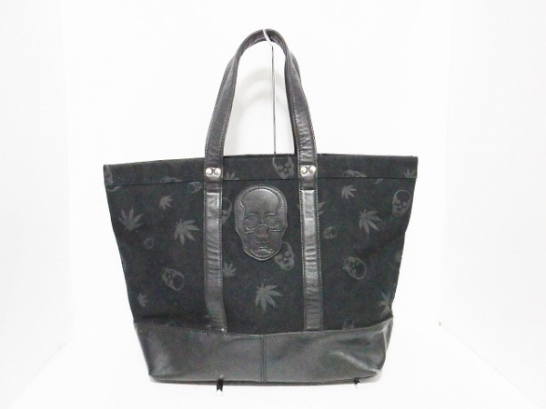 lucien pellat-finet(ルシアンペラフィネ) トートバッグ 黒 スカル キャンバス