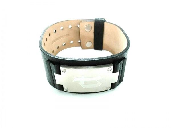 POLICE(ポリス) ブレスレット美品  レザー×金属素材 黒×シルバー