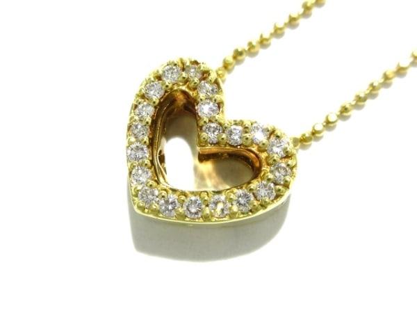 ポンテヴェキオ ネックレス新品同様  K18YG×ダイヤモンド 0.23カラット/ハート