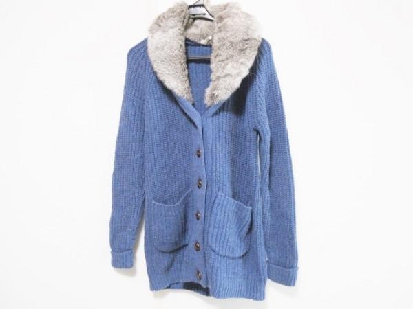 マオメイド コート サイズM レディース ブルー×グレー×マルチ 冬物/ニット/ファー