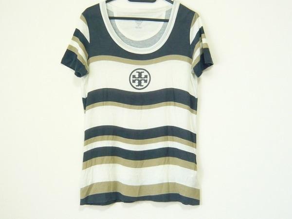 トリーバーチ 半袖Tシャツ サイズXS レディース アイボリー×ダークグレー×グレー