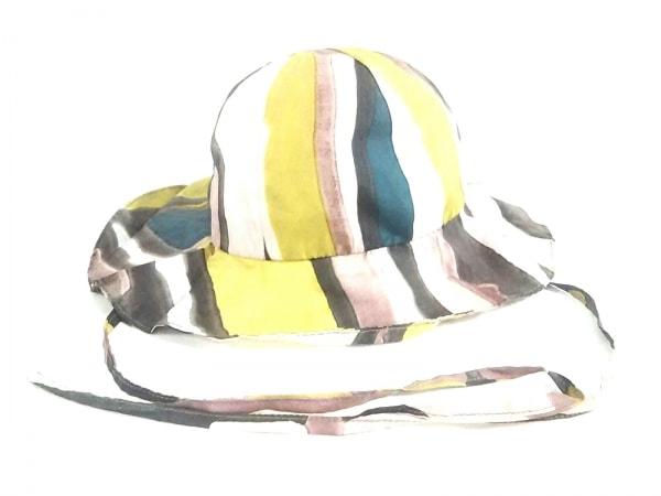 MARNI(マルニ) 帽子 57美品  ピンク×イエロー×マルチ シルク×ポリウレタン
