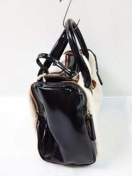 GALLARDAGALANTE(ガリャルダガランテ) ハンドバッグ アイボリー×黒×ボルドー