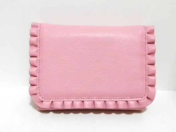 UNOKANDA(ウノカンダ) 3つ折り財布美品  ピンク フリル レザー