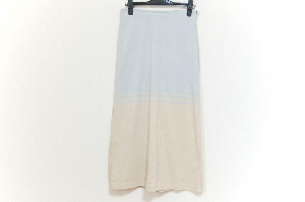 CHANEL(シャネル) ロングスカート レディース美品  ライトグレー×ベージュ ニット