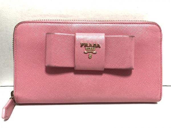PRADA(プラダ) 長財布 - ピンク ラウンドファスナー/リボン レザー