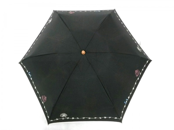 アフタヌーンティー 折りたたみ傘美品  黒×ピンク×ブルー×白 刺繍 化学繊維