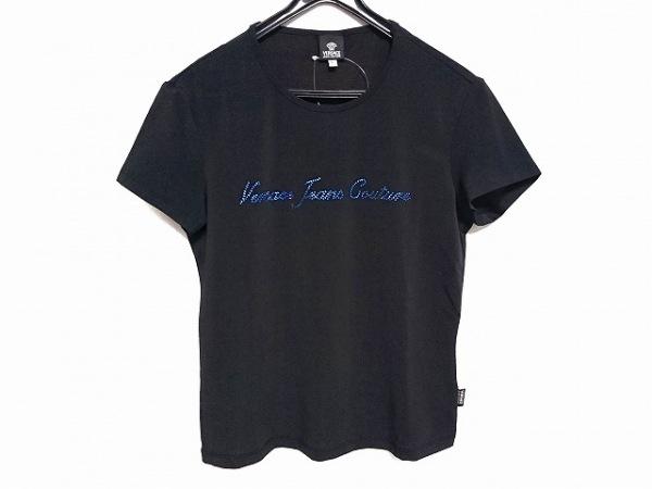 ヴェルサーチジーンズ 半袖Tシャツ サイズL レディース美品  黒×ネイビー