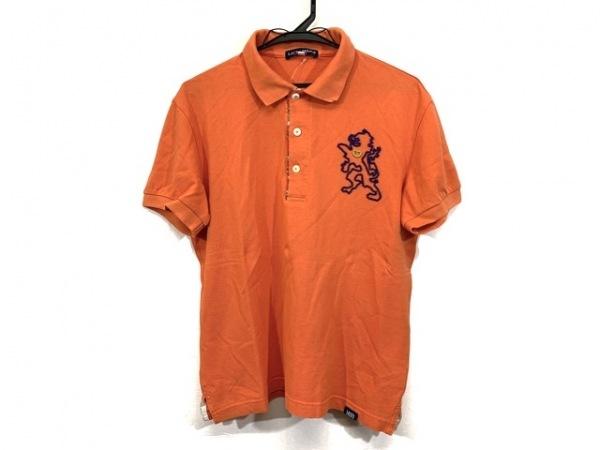 ラウラフェリーチェ 半袖ポロシャツ サイズ48 XL メンズ オレンジ ビーズ