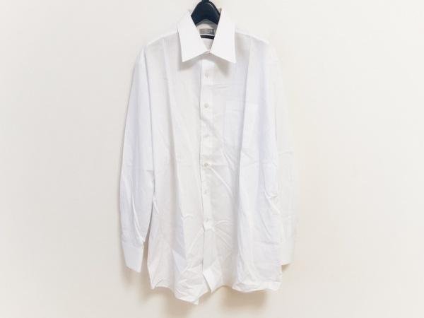 YUKITORII(ユキトリイ) 長袖シャツ メンズ美品  白×ライトブルー ストライプ
