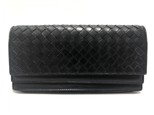 BOTTEGA VENETA(ボッテガヴェネタ) 長財布 イントレチャート 143305 黒 レザー