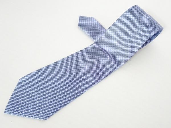 BELVEST(ベルヴェスト) ネクタイ メンズ ブルー×白 チェック柄