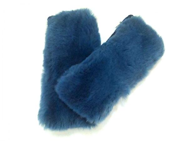 イヴサロモン 手袋 レディース美品  ブルー×ネイビー ラビット×カシミヤ