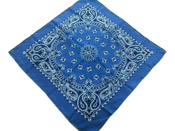 manipuri(マニプリ) スカーフ美品  ブルー×白×黒 ペイズリー柄